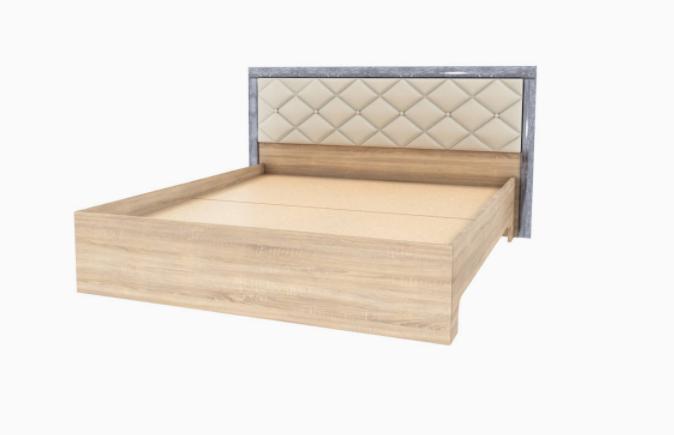 Кровать 1,6 без матраса Мадлен, Дуб шале серебро