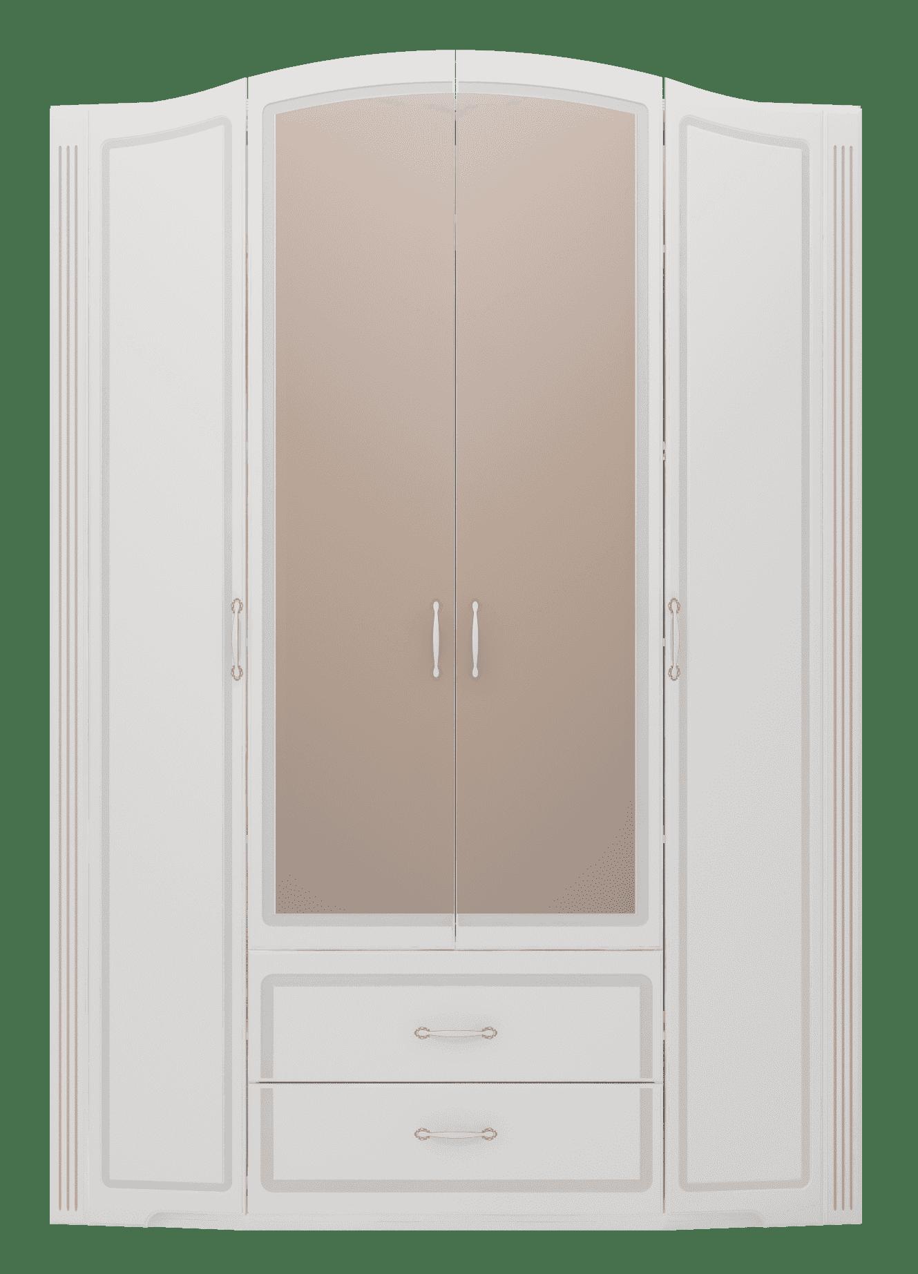 """Спальня Виктория (комплект 2) """"Ижмебель"""" - фото 02 Виктория Шкаф для одежды 4-х дв с ящиками (с зеркалами)"""