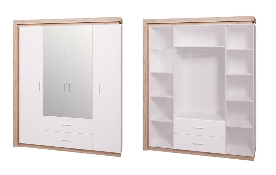 Шкаф 4-х дверный с зеркалом Люмен 16