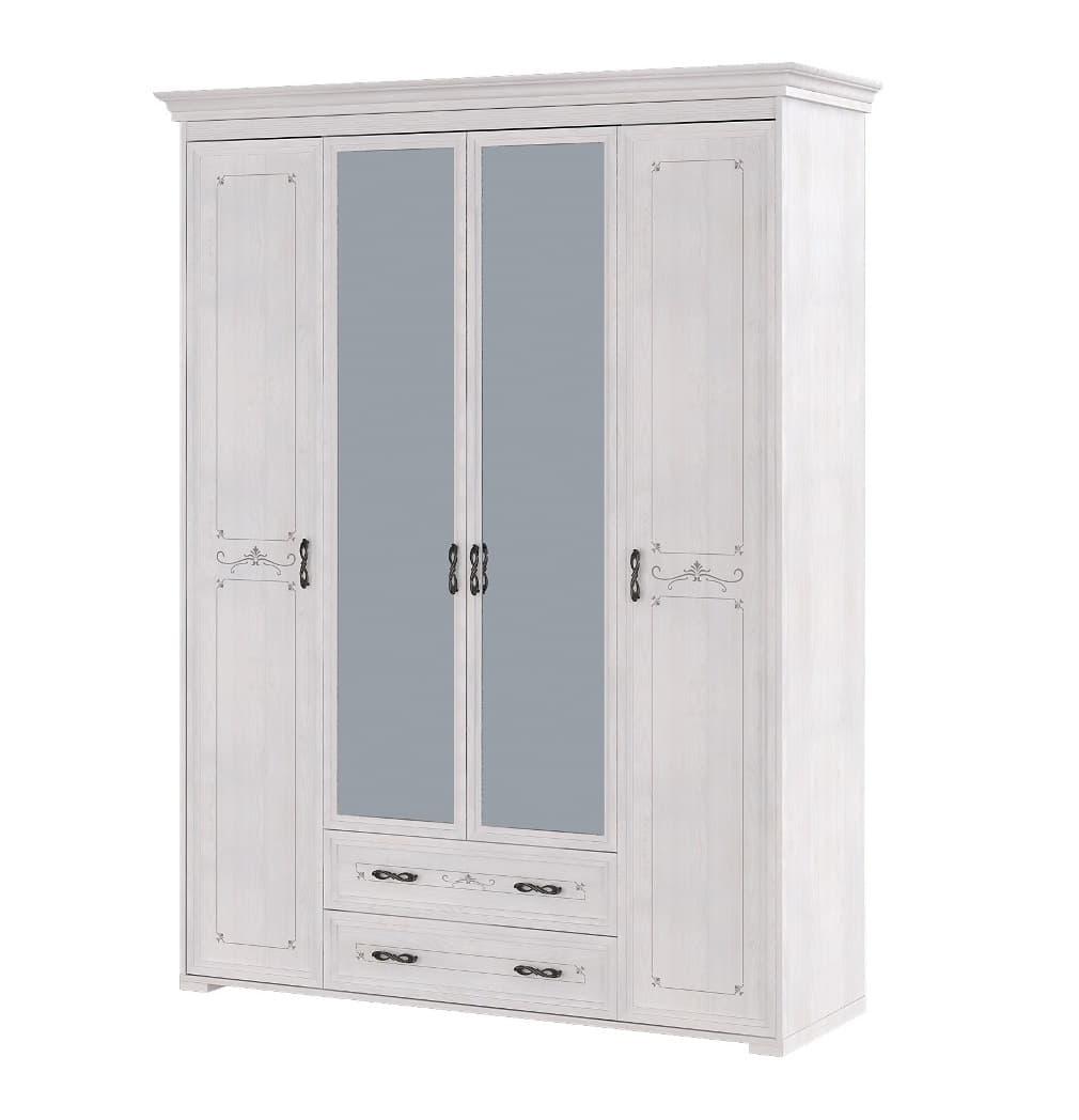 Шкаф для платья и белья 4-х дверный с ящиками (без карниза) Афродита 02