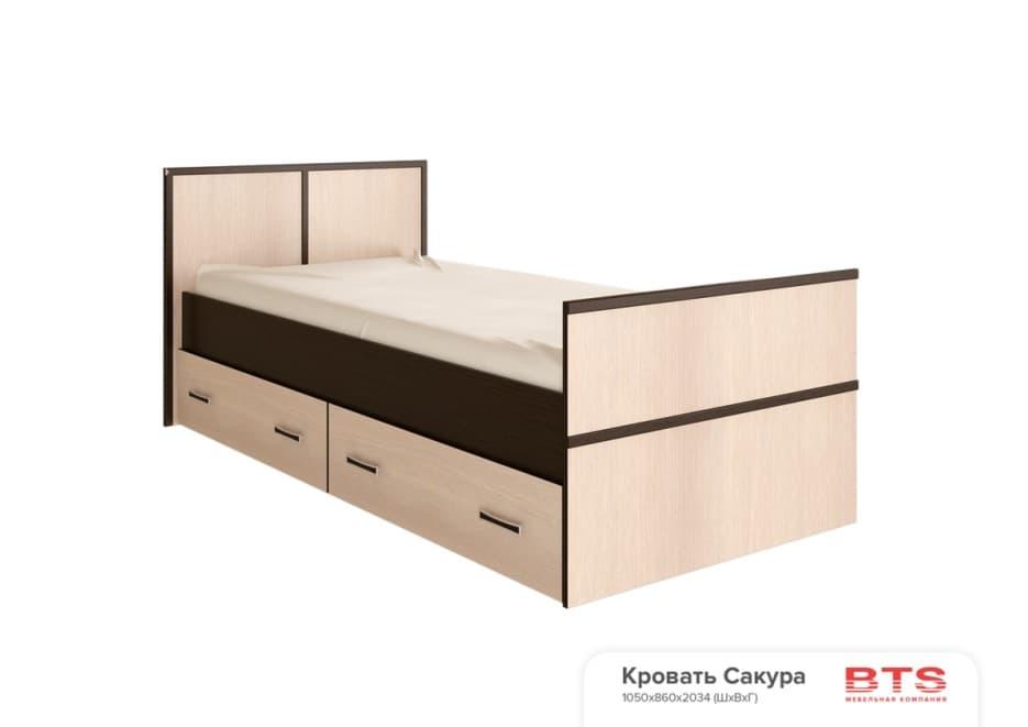 Спальня Сакура (комплект 3) - фото Кровать на 90, с настилом ДСП, без матраса Сакура