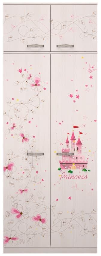 Детская комната Принцесса Комплект 2 - фото 1+2 Принцесса шкаф для одежды с антресолью