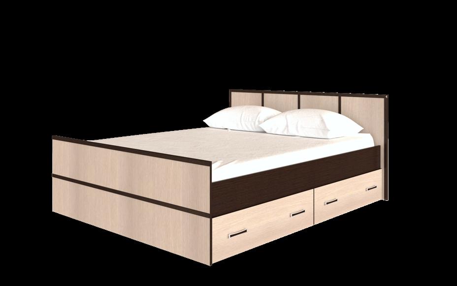 Спальня Сакура (комплект 3) - фото Кровать на 160, с настилом ДСП, без матраса Сакура