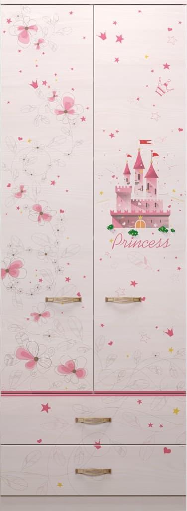 Детская комната Принцесса Комплект 2 - фото 20 Принцесса Шкаф для одежды с ящиками