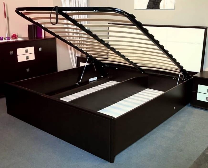 Кровать 160*200 Амели Люкс 201+2.2 в комплекте с основанием с подъемным механизмом, венге