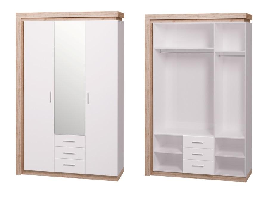 Шкаф 3-х дверный с зеркалом, 3 ящика Люмен 15