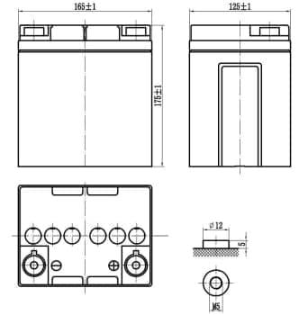 Габаритные размеры аккумулятора Delta HR 12-26
