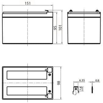 Габаритные размеры аккумулятора Delta HR 12-12