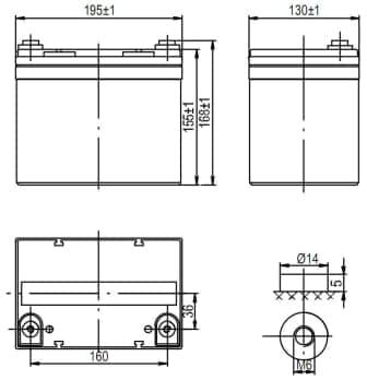 Габаритные размеры аккумулятора Delta HRL 12-33