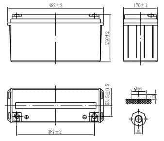Габаритные размеры аккумулятора Delta DTM 12150 L