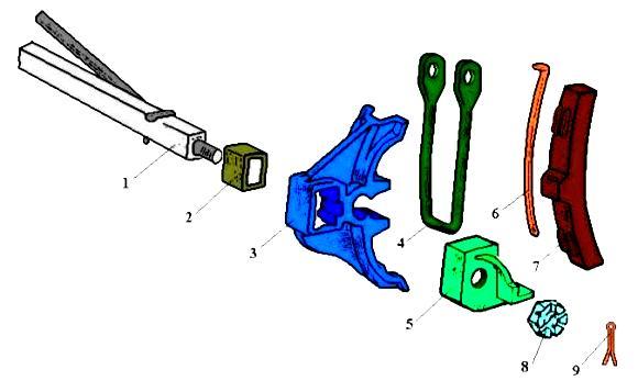 Головка тяги тормозной рычажной передачи вагонов 5756-08.02.05.101-ПФ1 - фото триангель с глухой посадкой башмаков