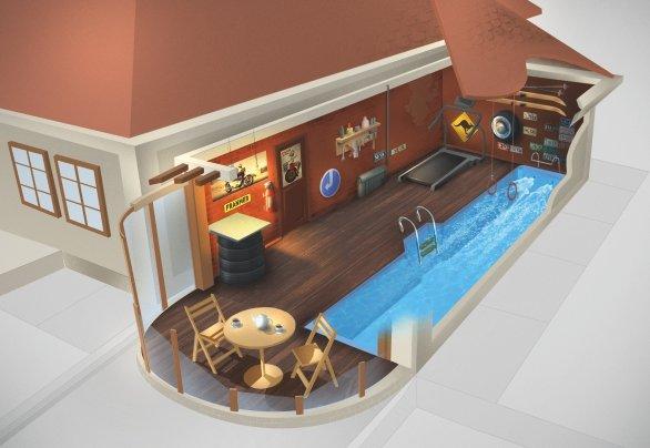 Композитный бассейн SwimTrack 56 NORDPOOL - фото SwimTrack, свимтрэк, плавательная дорожка, бассейн для плавания, спортивный бассейн