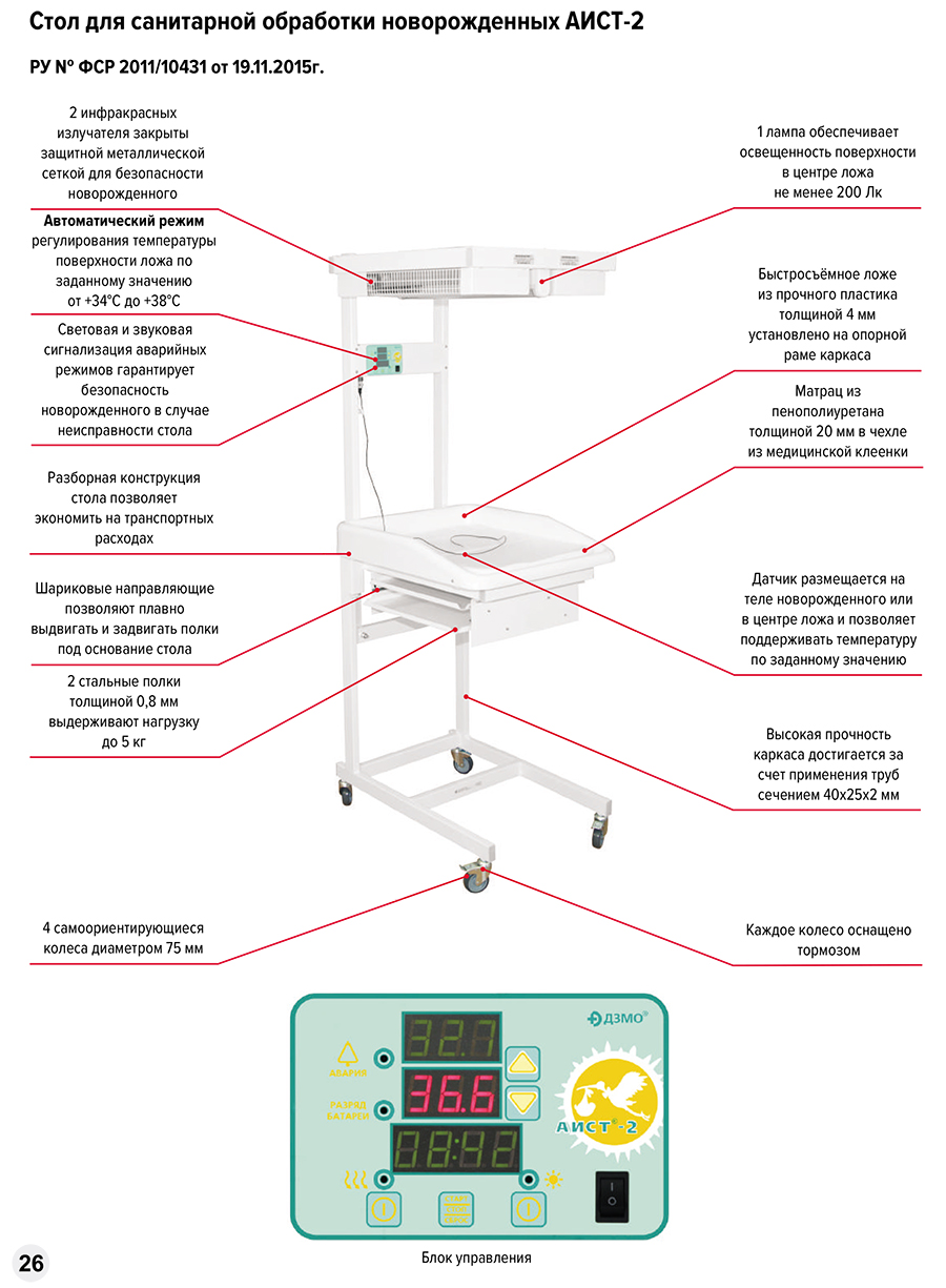 Стол для санитарной обработки новорожденых Аист-2 - фото %D0%90%D0%98%D0%A1%D0%A2-2.jpg