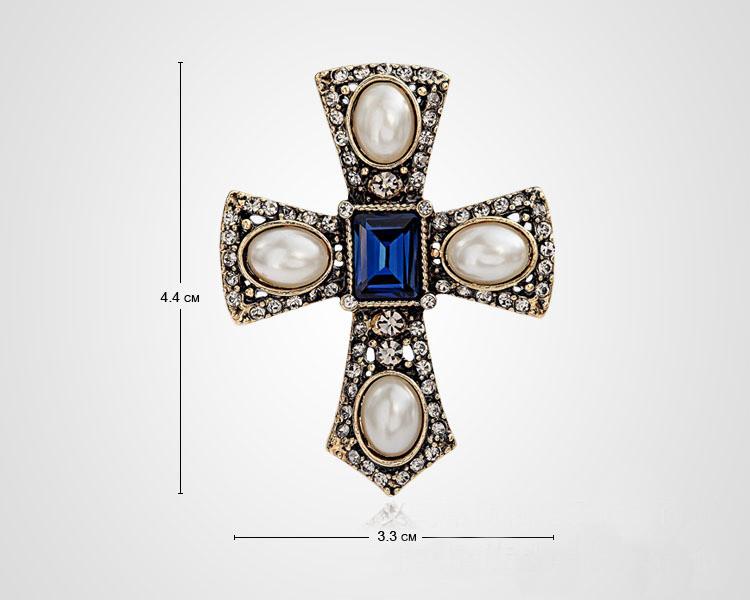 Брошь Крест в мальтийском стиле - фото Z322-8