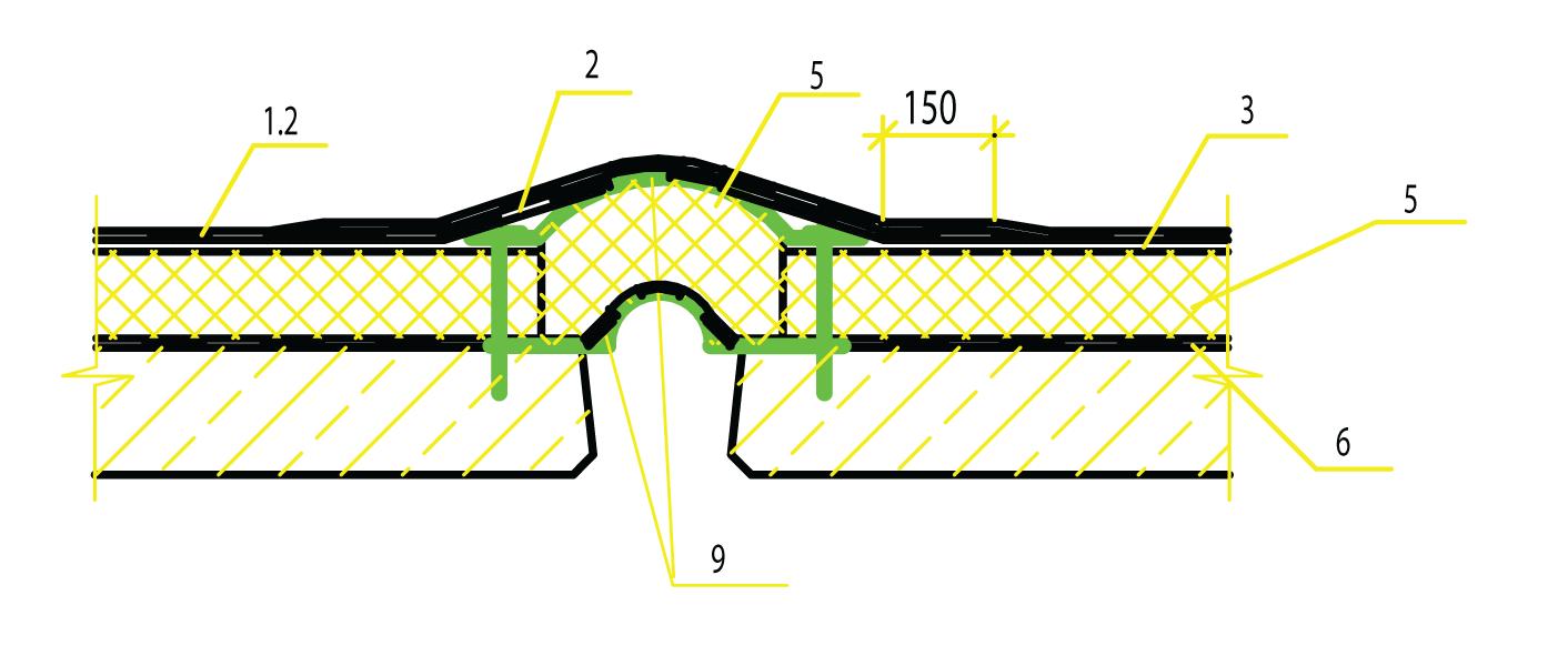 Руководство по устройству и ремонту мягкой кровли из самоклеящегося рулонного гидроизоляционного и кровельного материала «Ризолин» - фото Деформационный шов вдоль ската
