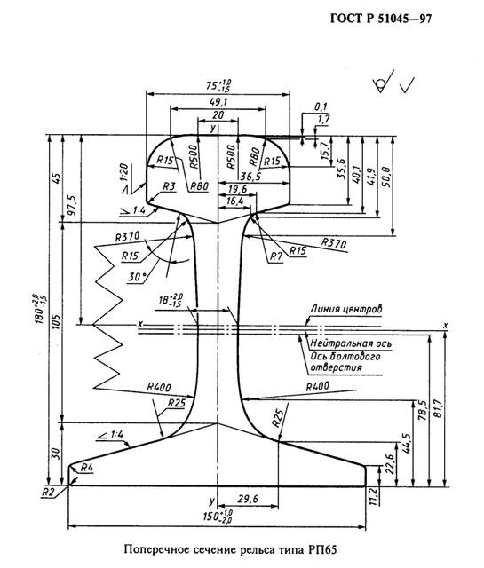 Рельсы РП65 ДТ350  ГОСТ 51045-2014 - фото чертеж Рельс РП65