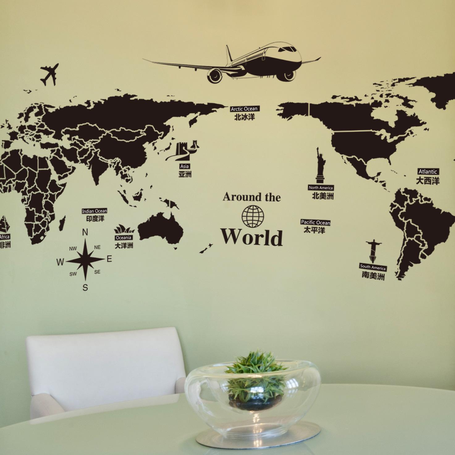 Карта мира наклейки на стены Съемная ПВХ карта мира Художественные наклейки для гостиной Home Decor - фото 2