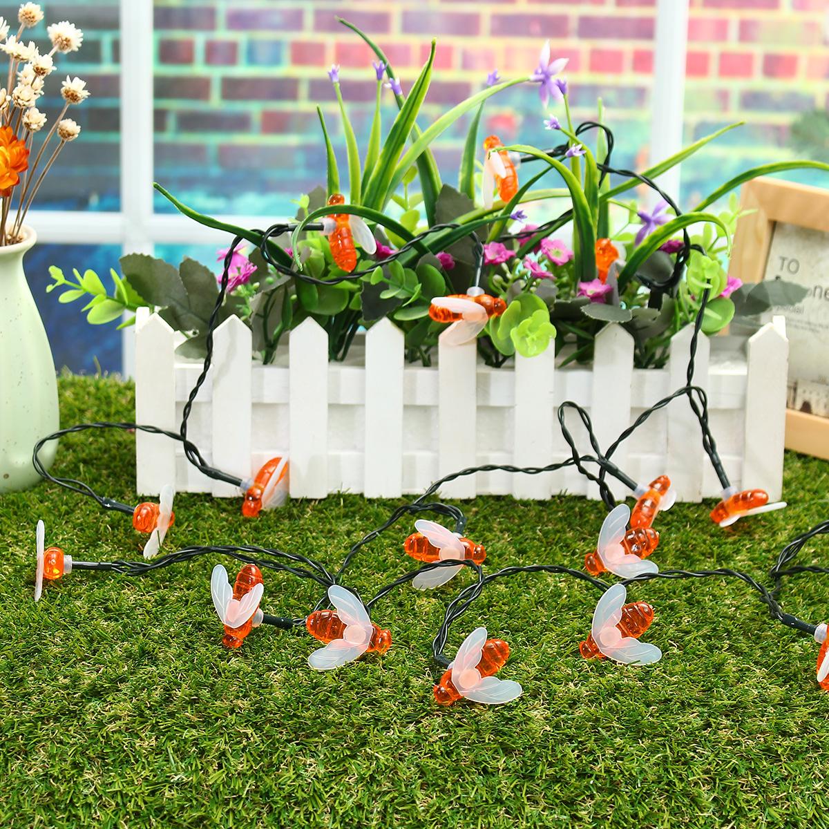 Солнечная Powered 5M 20LEDs Водонепроницаемы Honey Bee Fairy String Light для Сад Yard Christmas - фото 8