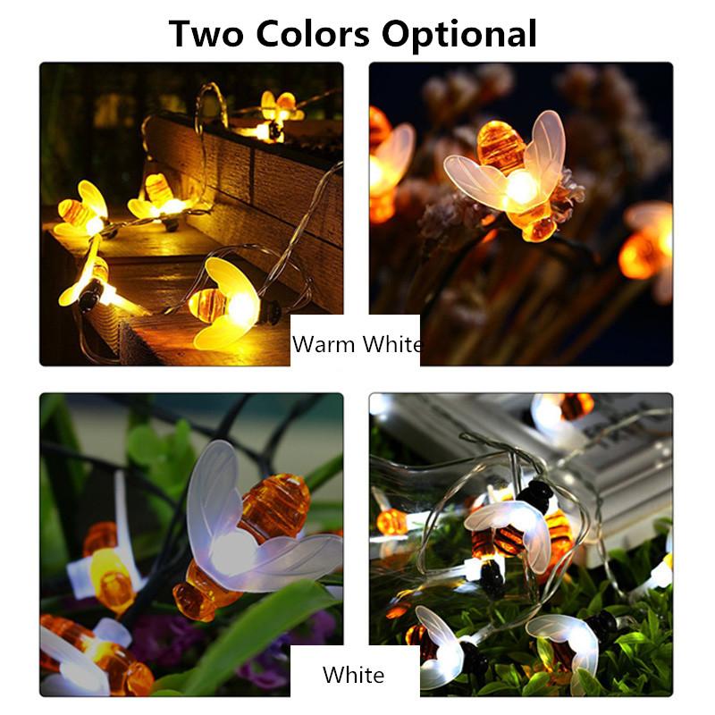 Солнечная Powered 5M 20LEDs Водонепроницаемы Honey Bee Fairy String Light для Сад Yard Christmas - фото 6