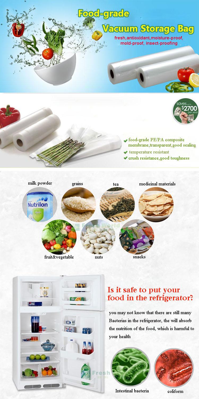 Утолщенные 20x500 Сетчатая еды вакуумный мешок еды Vegetabel Фрукты Мясо Свежее Вакуумная мешок запечатывания