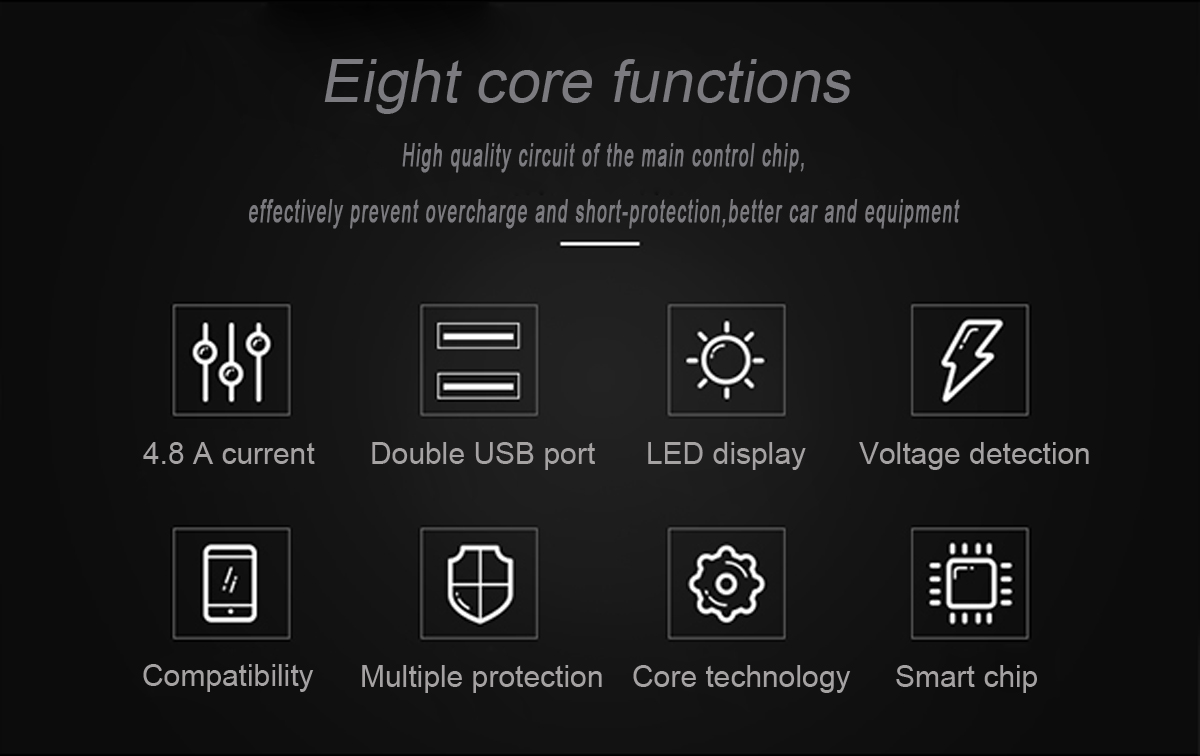 USMEI C6 4.8A Dual USB Авто Зарядное устройство с дыханием для iPhone X 8Plus OnePlus5 Xiaomi6 Redmi Note4 - фото 4