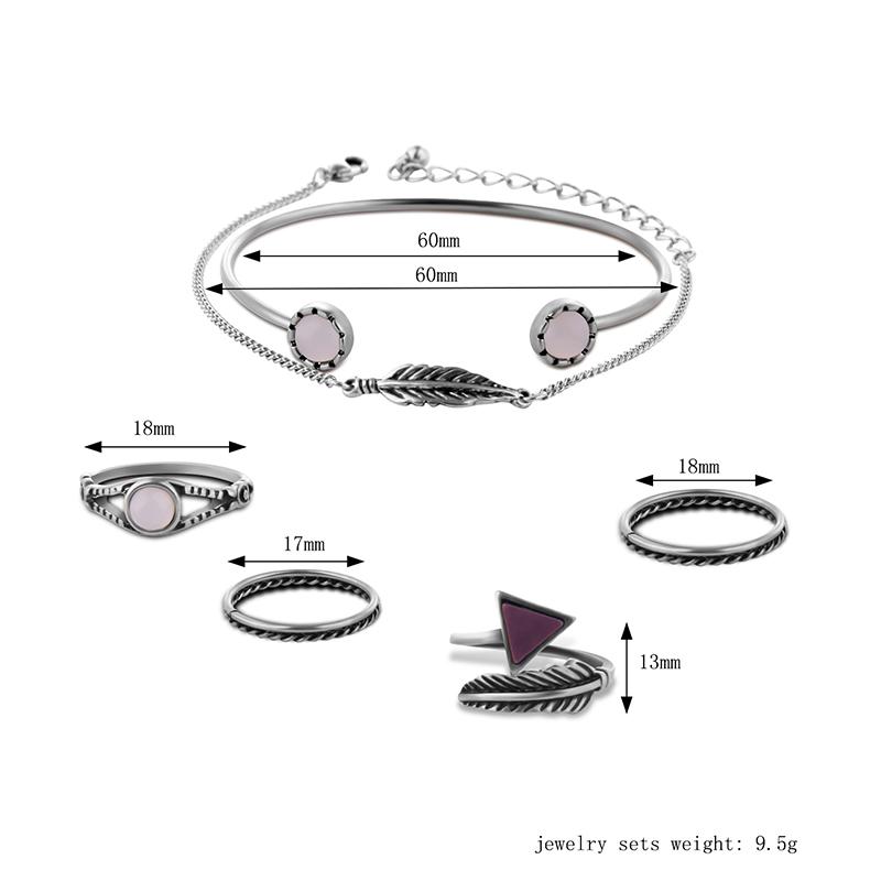 6 PCS стрелки Кольца пера Цепь Кристалл Браслеты комплект ювелирных изделий