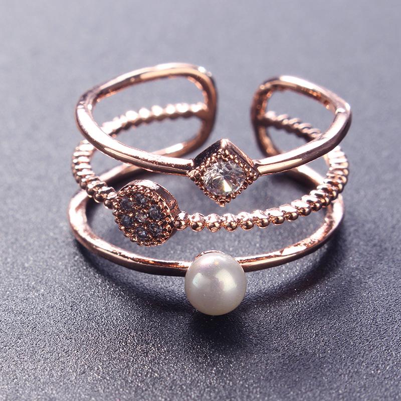 Личность кольцо Многослойные Micro Циркон Искусственная жемчужина инкрустированные