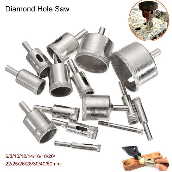 15 шт 6-50мм алмазные кольцевые сверла набор сверл для стеклокерамики фарфора мрамора - фото 9