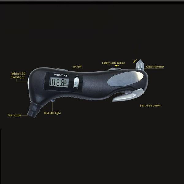 4 в 1 Многофункциональный Авто Цифровая шина Guage Фонарик безопасности Hammer Emergency Инструмент - фото 6