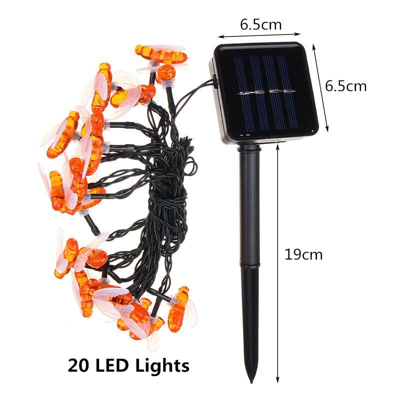 Солнечная Powered 5M 20LEDs Водонепроницаемы Honey Bee Fairy String Light для Сад Yard Christmas - фото 3