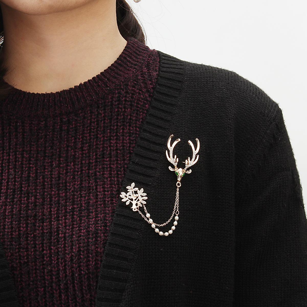 Crystal Deer Green Eyes Tree Artificial Pearl Gift Christmas Брошь es