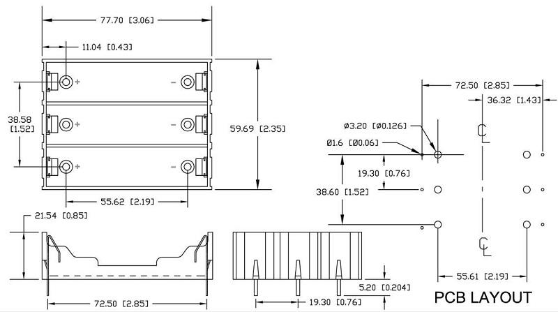 5pcs поделки 3-слот держатель батареи 18650 с булавками - фото 4