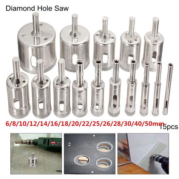 15 шт 6-50мм алмазные кольцевые сверла набор сверл для стеклокерамики фарфора мрамора - фото 10