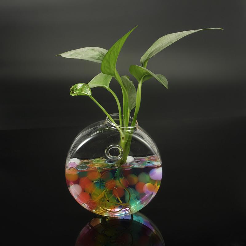 круглая форма стеклянной бутылки ваза