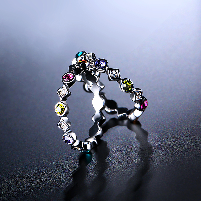 2 Pcs of Trendy Rings Platinum Plated Colourful Women Ring