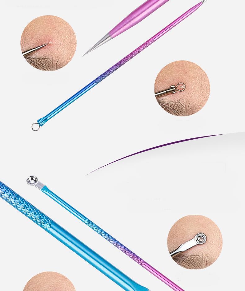 6шт Угри Снятие Пинцет Набор Blemish Pimple Акне Remover Extractor Набор с зеркалом - фото 7