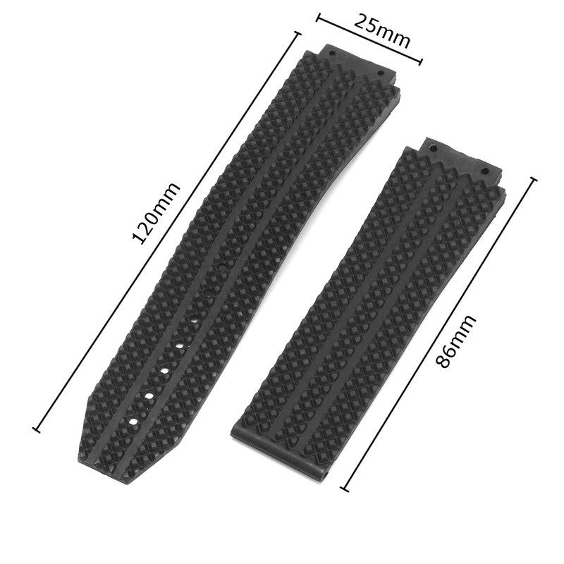 25 мм Замена Черный Силиконовый Резиновый ремешок для часов HUBLOT - фото 5