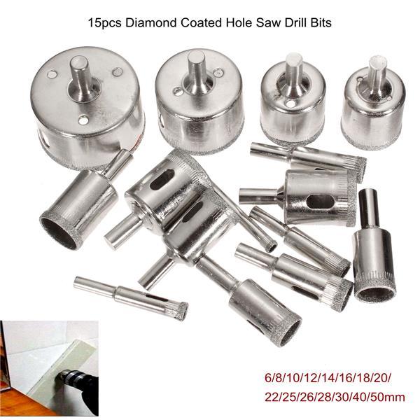15 шт 6-50мм алмазные кольцевые сверла набор сверл для стеклокерамики фарфора мрамора - фото 1
