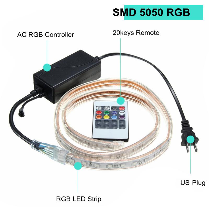 1/2/3 / 5M SMD5050 LED RGB гибкий канат Открытый водонепроницаемый свет прокладки + разъем + пульт дистанционного управл - фото 3