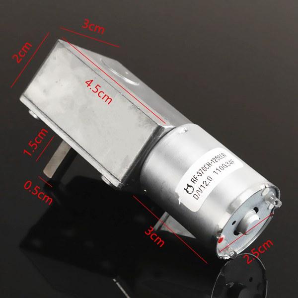 GW370 12V 3RPM мотор постоянного тока Реверсивный высокий крутящий момент Турбо червячный мотор-редуктор - фото 3