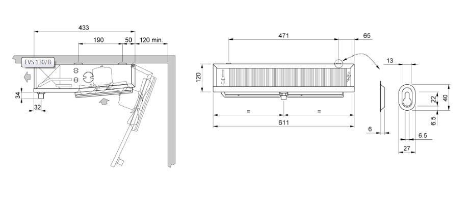 Чертеж и габаритные размеры воздухоохладителя ECO EVS B131 ED