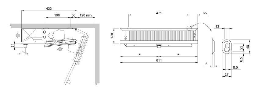 Чертеж и габаритные размеры воздухоохладителя ECO EVS 131
