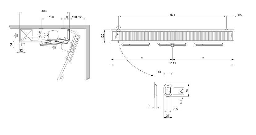Чертеж и габаритные размеры воздухоохладителя ECO EVS 181