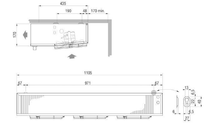 Чертеж и габаритные размеры воздухоохладителя ECO EVS 391 ED