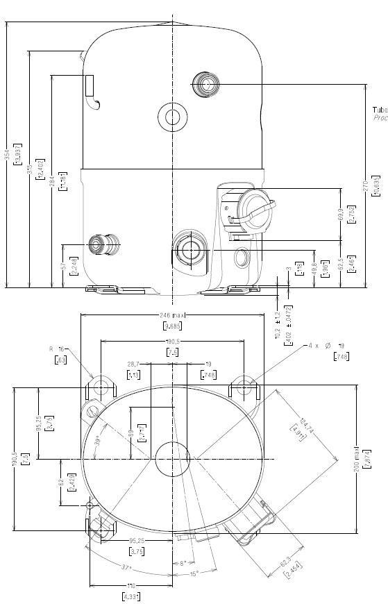 Чертеж и габаритные размеры компрессора TFH2480E