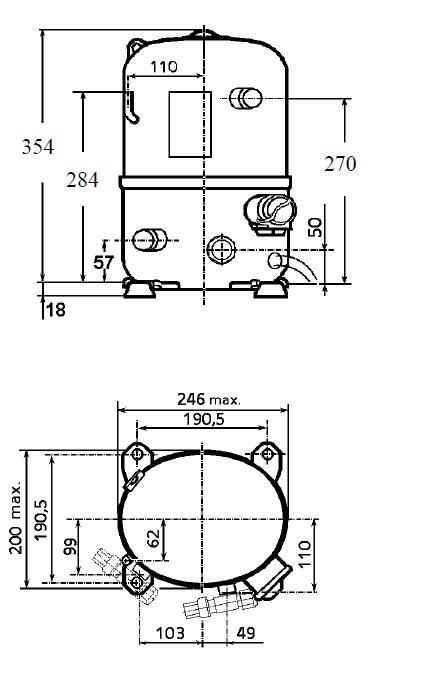 Чертеж и габаритные размеры компрессора TFH4524Z