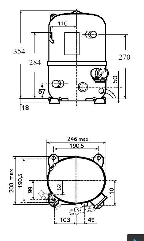 Чертеж и габаритные размеры компрессора TFH2480