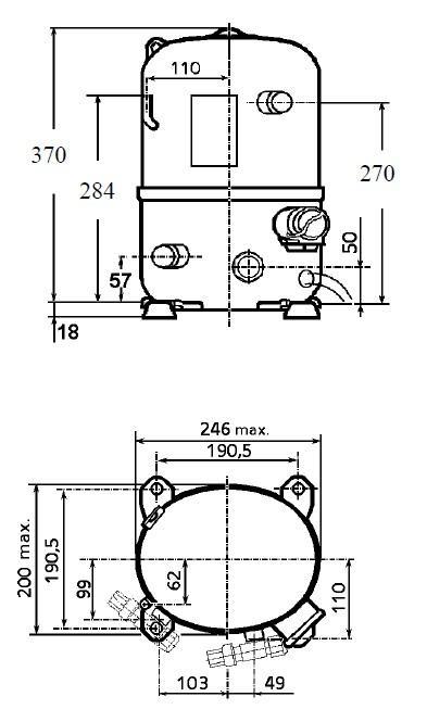 Чертеж и габаритные размеры компрессора TFH4540Z