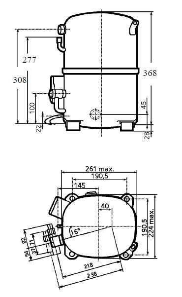 Чертеж и габаритные размеры компрессоров TAG2516Z