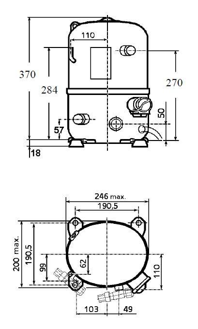 Чертеж и габаритные размеры компрессора FH2511Z